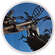 Iron Motorcycle Sculpture In Faro Round Beach Towel