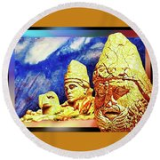 Round Beach Towel featuring the painting Irreplaceable   Ancient  Glory by Hartmut Jager