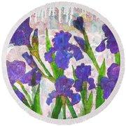 Irresistible Irises Round Beach Towel