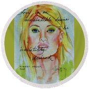 Round Beach Towel featuring the painting Irresistible by P J Lewis