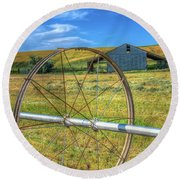Irrigation Water Wheel Hdr Round Beach Towel by James Hammond