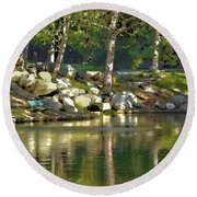 Irvine Park Lake Abstract 1 Round Beach Towel