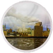 Irving Pulp Mill #3 Round Beach Towel