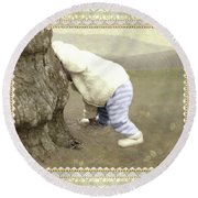 Is Bunny Behind Tree? Round Beach Towel