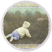Is Bunny In The Basket? Round Beach Towel