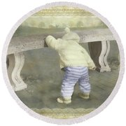 Is Bunny Under The Bench? Round Beach Towel