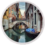 Gondola Parked On Lonely Water Canal In Venice, Italy Round Beach Towel