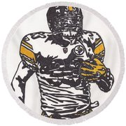 Round Beach Towel featuring the drawing Isaac Redman by Jeremiah Colley