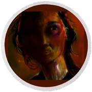 Round Beach Towel featuring the painting Isabella by Jim Vance