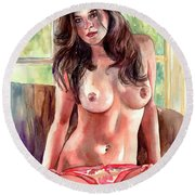 Isabella Nude Lady Portrait Round Beach Towel