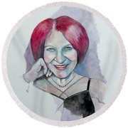 Round Beach Towel featuring the painting Isabella by Ray Agius