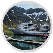 Isafjordur, Iceland Round Beach Towel by Shirley Mangini