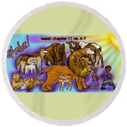 Isaiah 11 Vs 4-7 Round Beach Towel