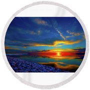 Round Beach Towel featuring the photograph Isand Sunset by Norman Hall
