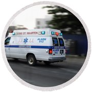 Island Ambulance Round Beach Towel