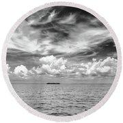 Island, Clouds, Sky, Water Round Beach Towel