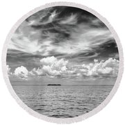 Island, Clouds, Sky, Water Round Beach Towel