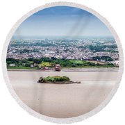 Island In The River Round Beach Towel