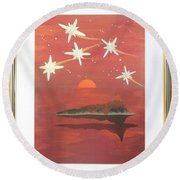 Round Beach Towel featuring the painting Island In The Sky With Diamonds by Ron Davidson