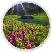 Island Lake Flowers Round Beach Towel