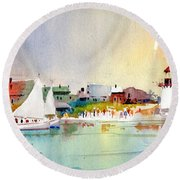 Island Light Round Beach Towel