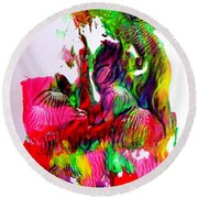 Round Beach Towel featuring the painting Island Maiden by Fred Wilson