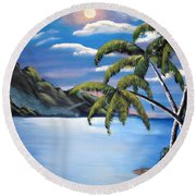 Island Night Glow Round Beach Towel