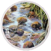 Round Beach Towel featuring the painting Island Oasis by Rae Andrews