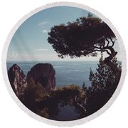 Island Of Capri - Italy Round Beach Towel