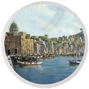 Island Of Procida - Italy- Harbor With Boats Round Beach Towel