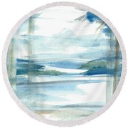 Round Beach Towel featuring the painting Island Paradise by Reed Novotny