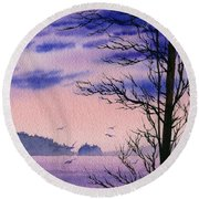Round Beach Towel featuring the painting Island Point by James Williamson
