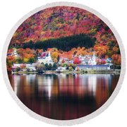Island Pond Vermont Round Beach Towel by Sherman Perry