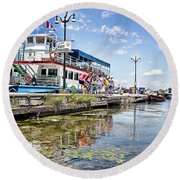 Island Princess At Harbour Dock Round Beach Towel
