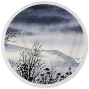 Round Beach Towel featuring the painting Island Solitude by James Williamson