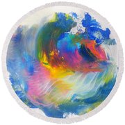 Round Beach Towel featuring the painting Island Sunrise by Fred Wilson