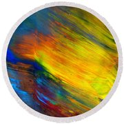 Round Beach Towel featuring the painting Island Sunset by Fred Wilson