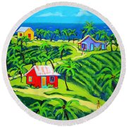 Island Time - Colorful Houses Caribbean Cottages Round Beach Towel