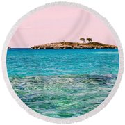 Island Tree Couple Round Beach Towel
