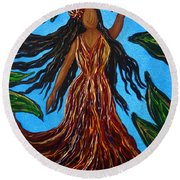 Island Woman Round Beach Towel