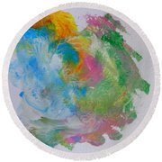 Round Beach Towel featuring the painting Islandcolors by Fred Wilson