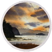 Round Beach Towel featuring the painting Islands Autumn Sky by James Williamson