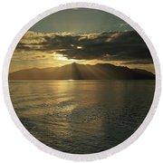 Isle Of Arran At Sunset Round Beach Towel