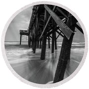 Isle Of Palms Pier Water In Motion Round Beach Towel