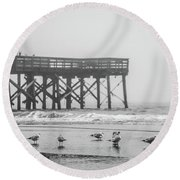 Isle Of Palms Pier And Fog Round Beach Towel