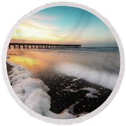Isle Of Palms Pier Sunrise And Sea Foam Round Beach Towel