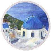 Isle Of Santorini Thiara  In Greece Round Beach Towel by Carol Wisniewski