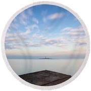 Round Beach Towel featuring the photograph Islet Baraban With Lighthouse by Davor Zerjav