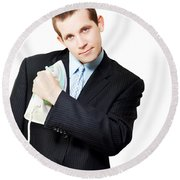 Isolated Business Person Ironing Suit Jacket Round Beach Towel