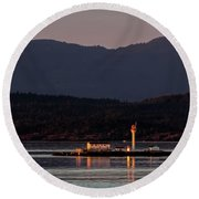 Isolated Lighthouse Round Beach Towel